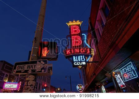 City Neon Lights On Beale Street