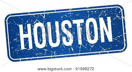 Houston Blue Stamp Isolated On White Background