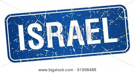 Israel Blue Stamp Isolated On White Background