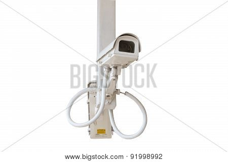 Security twin side camera isolated on blue sky background.