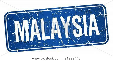 Malaysia Blue Stamp Isolated On White Background
