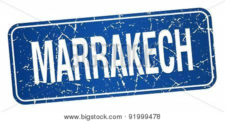 Marrakech Blue Stamp Isolated On White Background