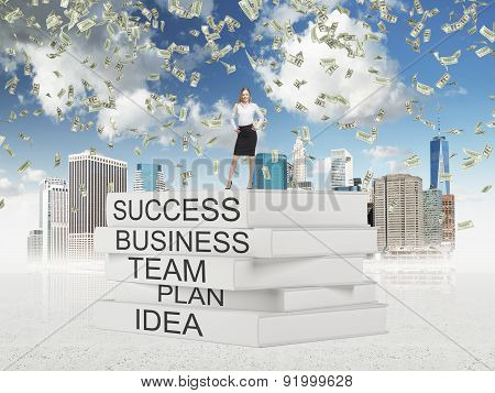 Young Business Lady In A Formal Suit Is Standing On The Top Of The Book' Pedestal In The Sketched N