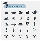image of windy weather  - Vector Weather basic black icons set with isolated on a white background - JPG