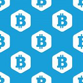 stock photo of bitcoin  - Blue image of bitcoin symbol in white hexagon - JPG