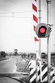 image of traffic light  - red traffic light crossing level - JPG