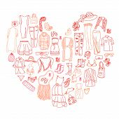 image of outerwear  - Vector set of different women clothes and accessories from underwear to outerwear - JPG
