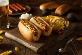pic of wiener dog  - Barbecue Grilled Hot Dog with Yellow Mustard - JPG