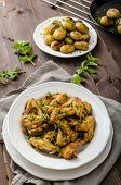 foto of roast chicken  - Roasted chicken wings with new potato  - JPG