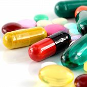 picture of oral  - Colorful of oral medications on White Background - JPG