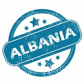 stock photo of albania  - Round rubber stamp with word ALBANIA and stars - JPG