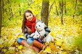 pic of west highland white terrier  - woman with west highland terrier in the park - JPG