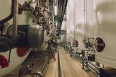 stock photo of silos  - Large industrial white silos in modern factory interior - JPG