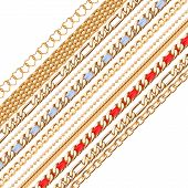 pic of chains  - Colorful golden chains background - JPG