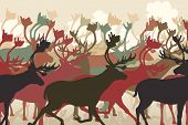 stock photo of caribou  - EPS8 editable vector illustration of a reindeer or caribou herd migrating - JPG