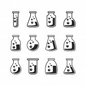 pic of chemical reaction  - Vector black line chemical Flask set over white - JPG
