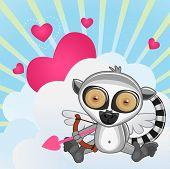 pic of cupid  - Cupid Lemur with a bow on a background of clouds and hearts - JPG