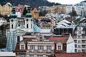 foto of church mary magdalene  - a view of Karlovy Vary (Carlsbad) in the Czech Republic including the St. Mary Magdalene Church ** Note: Visible grain at 100%, best at smaller sizes - JPG