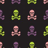 picture of skull crossbones  - Simple human skull and crossbones seamless pattern vector background - JPG
