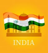 stock photo of indian flag  - illustration of wavy Indian flag with monument and white dove - JPG