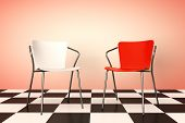 pic of chessboard  - Red and White Chairs on a chessboard background 3d rendering - JPG