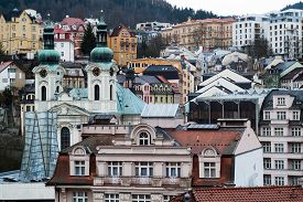 picture of magdalene  - a view of Karlovy Vary (Carlsbad) in the Czech Republic including the St. Mary Magdalene Church