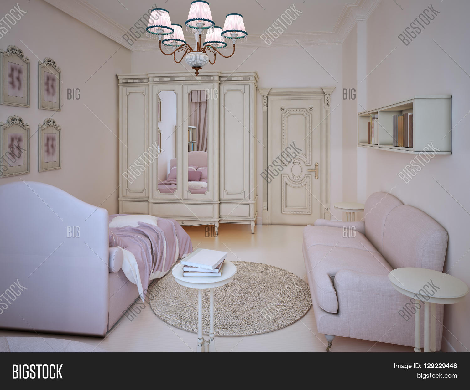 classic teenager girl bedroom interior. large wardrobe light pink