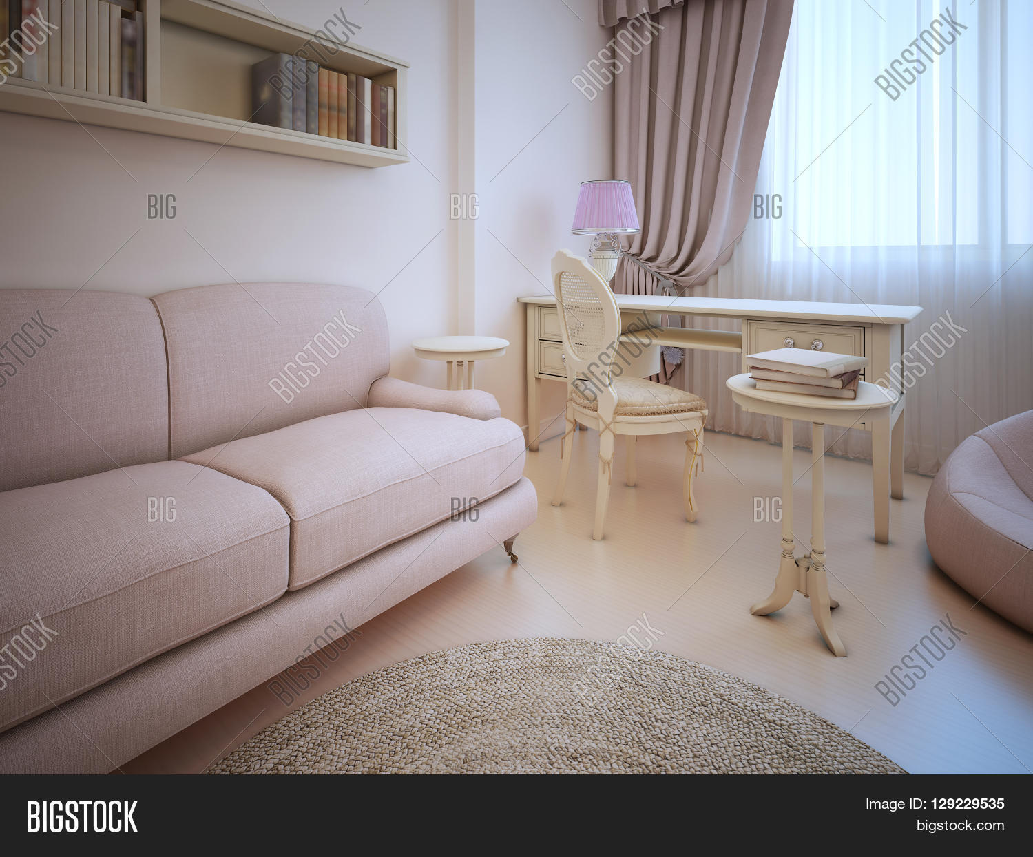 Elegant Living Shabby Chic Style. Sofa And Dressing Table In Room With  Cream Walls