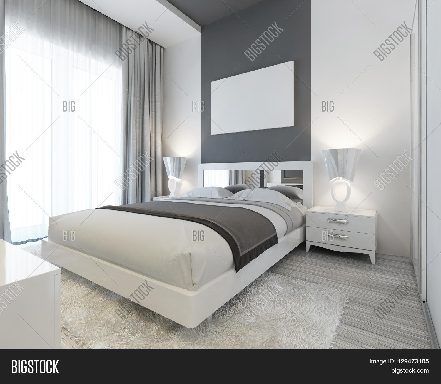 Bedroom In Art Deco Style In White And Gray Colors. Modern Carefully The  Laid Bed