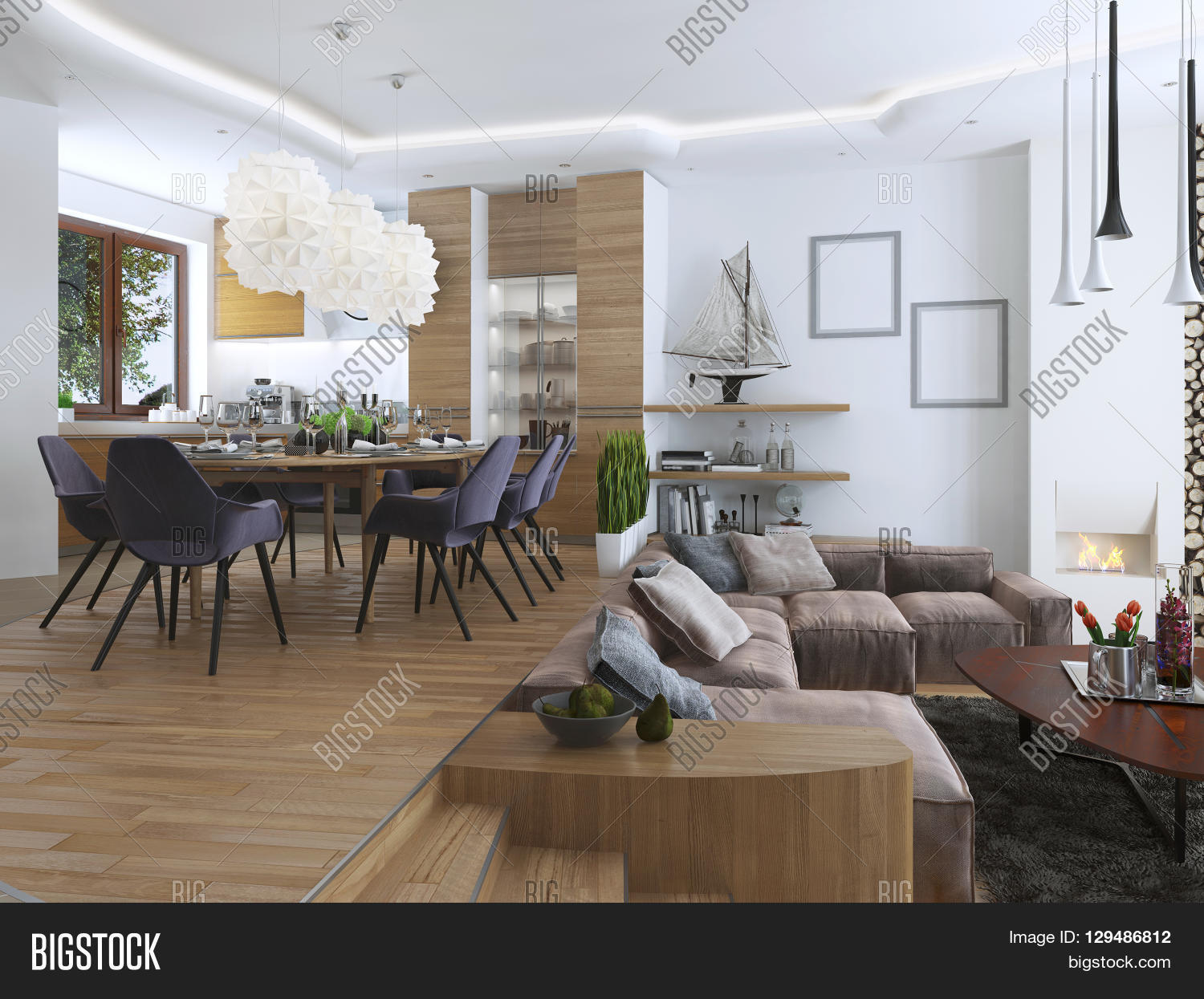 Large Living Room Design Studio Apartment With Living Room And Dining Room In A