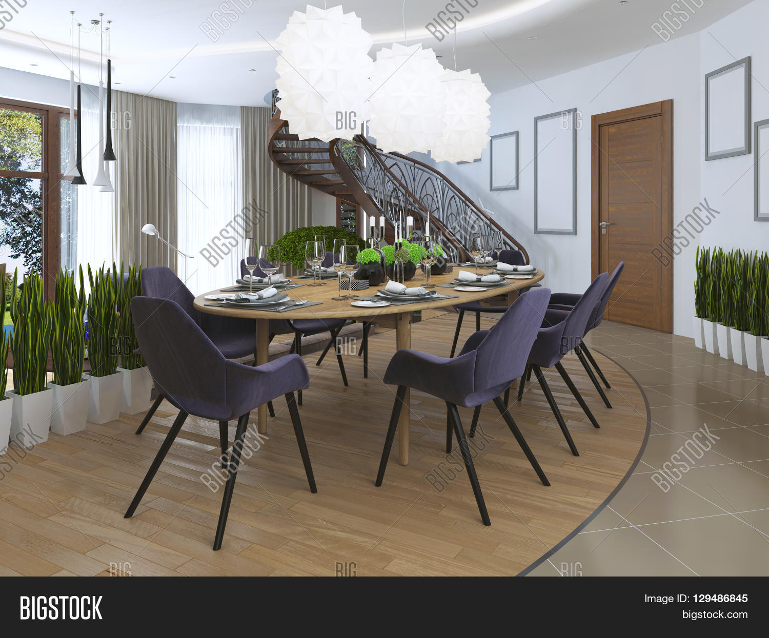 luxury dining room in a contemporary style with a large dining luxury dining room in a contemporary style with a large dining table for eight people