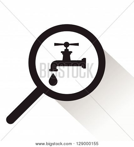 vector magnifying glass with faucet icon on white background