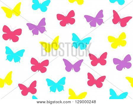 Butterfly seamless pattern. Seamless pattern of butterflies. Multicolored butterflies. Vector illustration.