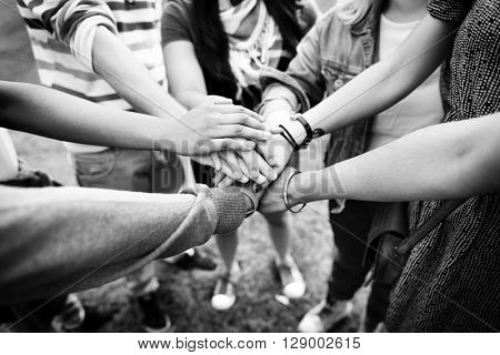 Hands Assemble Teamwork Friendship Togetherness Concept