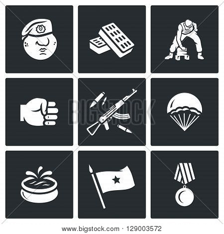 Vector Set of Russia Airborne troops Icons. Soldier, Beret, Bricks, Workout, Punch, Weapon, Landing, Fountain, Flag, Award.