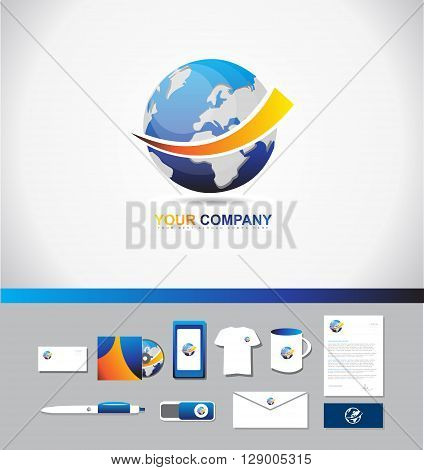 Corporate identity vector company logo icon element template earth 3d globe global technology