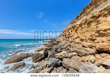 Mountain with rocks at shore of greek Kefalonia