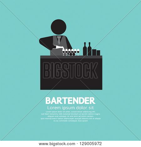 Black Symbol Bartender Vector Illustration. EPS 10