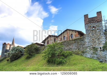 View form the outside of the Medieval village of Ricetto di Candelo in Piedmont used as a refuge in times of attack during the Middle Age.
