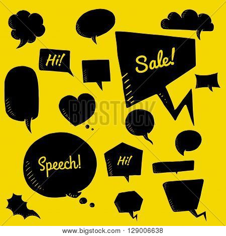 Vector set of black speech bubbles. group of doodle speech buble