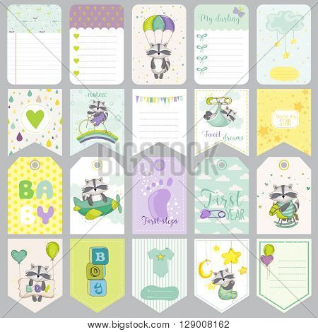 Baby Raccoon Tags. Baby Banners. Scrapbook Labels. Cute Cards. Vector Design Elements.