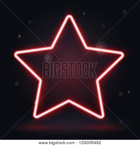 Neon red frame isolated. vector star banner for design
