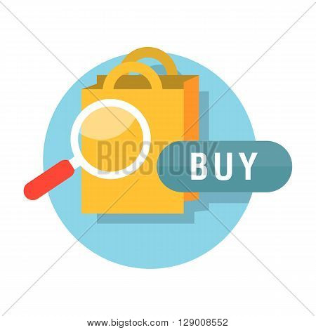 Sale badge buy now concept design. Badge buy now, sale tag, banner retail, icon label, store and shop purchase, marketing message and market commerce vector illustration. Magnifying glass shopping bag