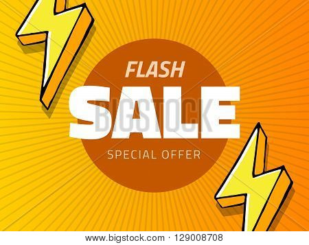 Vector flash sale design with thunder vector illustration. yellow background with lightning for business design