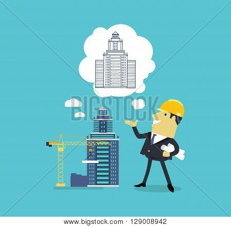 Character of architect with a new project. Successful architect is thinking on the new building projects. Adult male with a sheet of paper projects building on isolated background. Vector illustration