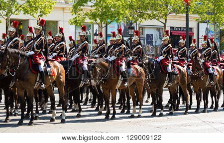 Paris France-May 08 2016 : The cavalry of Republican Guard during commemoration of Victory Day in World War II Champs Elysees avenue Paris France.