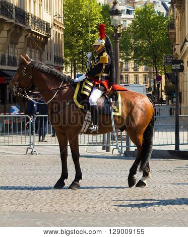 Paris France-May 08 2016 : The officer of Republican Guard during commemoration of Victory Day in World War II Champs Elysees avenue Paris France.