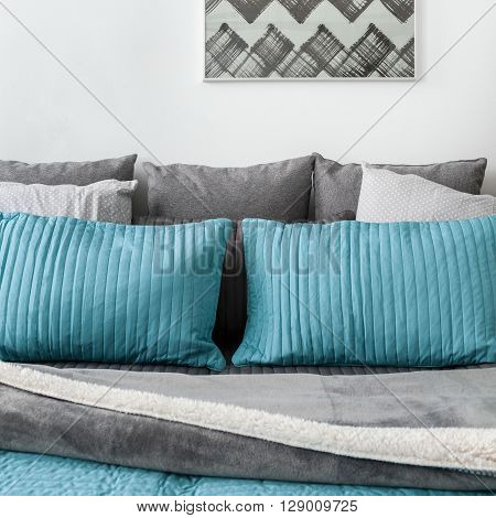 Gray And Blue Cushions