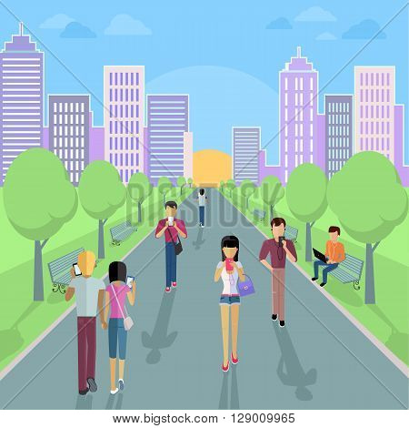 People with smartphone on street. Smartphone and street, urban city people, technology phone mobile, young person with cellphone, internet using people, social fashion communication illustration