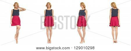 Full Length Portrait Of Beautiful Woman In Sexy Skirts
